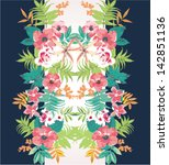 tropical flower summer holiday... | Shutterstock .eps vector #142851136