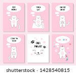 a set of cards with a cute cat. ... | Shutterstock .eps vector #1428540815