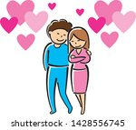 couple in love hugging  vector | Shutterstock .eps vector #1428556745