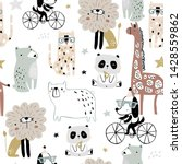 Stock vector seamless pattern with cartoon hand drawn bear giraffe dog leopard lion panda creative childish 1428559862
