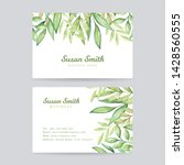 watercolor leaves business card.... | Shutterstock . vector #1428560555