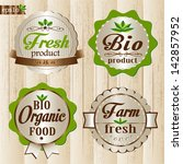 set of eco and organic labels | Shutterstock .eps vector #142857952
