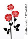 Stock vector three roses 142862806