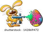 nice bunny having fun while... | Shutterstock .eps vector #142869472