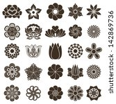vintage flower buds vector... | Shutterstock .eps vector #142869736