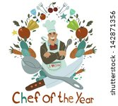 chef of the year. the vector... | Shutterstock .eps vector #142871356