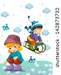 children at play on the snow  ... | Shutterstock . vector #142873732