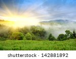 landscape with fog in mountains ... | Shutterstock . vector #142881892