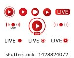 live video icon. red broadcast... | Shutterstock .eps vector #1428824072
