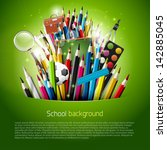 colorful crayons and school... | Shutterstock .eps vector #142885045