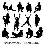 black,body,business,chair,chatting,collection,contour,crossed legs,element,female,figure,floor,friends,fun,girl