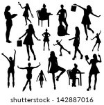woman silhouettes | Shutterstock .eps vector #142887016