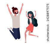 young couple dancing in white... | Shutterstock .eps vector #1428897575
