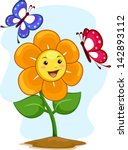 illustration of happy flower...