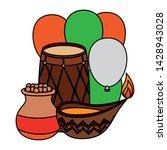 indian drum with balloons... | Shutterstock .eps vector #1428943028