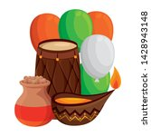 indian drum with balloons... | Shutterstock .eps vector #1428943148