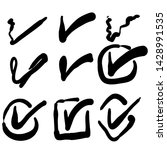hand drawn check mark icon set...