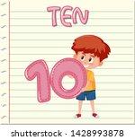 boy holding number ten on note...   Shutterstock .eps vector #1428993878