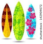 vector surf boards   hibiscus... | Shutterstock .eps vector #142909072
