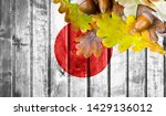 japan flag on autumn wooden... | Shutterstock . vector #1429136012
