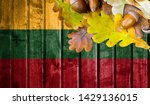 lithuania flag on autumn wooden ... | Shutterstock . vector #1429136015