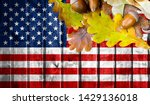 america flag on autumn wooden... | Shutterstock . vector #1429136018