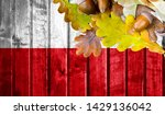 poland flag on autumn wooden... | Shutterstock . vector #1429136042
