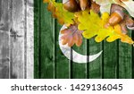 pakistan flag on autumn wooden... | Shutterstock . vector #1429136045