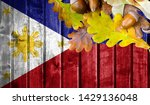 philippines flag on autumn... | Shutterstock . vector #1429136048