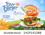 delicious hamburger ads with... | Shutterstock .eps vector #1429141388