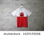 gibraltar flag on shirt and... | Shutterstock . vector #1429155038