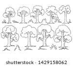 vector set of trees  leaves ...   Shutterstock .eps vector #1429158062