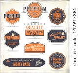 set of retro vintage labels | Shutterstock .eps vector #142917385