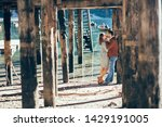 a couple in love at braies lake ... | Shutterstock . vector #1429191005