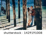 a couple in love at braies lake ... | Shutterstock . vector #1429191008