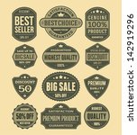 vector vintage sale label set... | Shutterstock .eps vector #142919296
