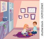 cartoon kids playing wooden... | Shutterstock .eps vector #1429212065