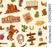 wild west vector western cowboy ... | Shutterstock .eps vector #1429228805