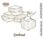 Stock vector cornbread bread vector drawing food sketch of cornbread usually known in america bakery 1429256585