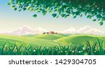 rural summer landscape with... | Shutterstock .eps vector #1429304705