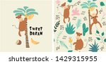 set of monkey print and... | Shutterstock .eps vector #1429315955