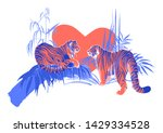 two tigers in love looking at... | Shutterstock .eps vector #1429334528