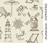 travel vector seamless pattern  ...   Shutterstock .eps vector #1429419302