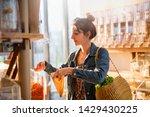beautiful young woman shopping... | Shutterstock . vector #1429430225