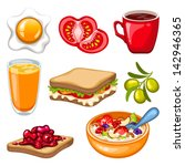 vector breakfast icon set | Shutterstock .eps vector #142946365