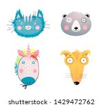 Stock vector cute animal faces flat vector illustrations set domestic and wild animal faces illustrations set 1429472762