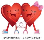 two cartoon hearts holding... | Shutterstock .eps vector #1429475435