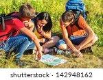 three teenage hikers watching...   Shutterstock . vector #142948162