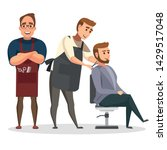 stylish hairdresser cutting... | Shutterstock .eps vector #1429517048