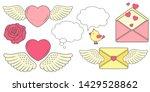 love story set. vector hearts ... | Shutterstock .eps vector #1429528862